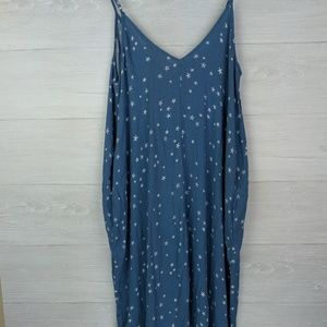 NWT Love Stitch Blue Star Sleeveless Maxi Dress